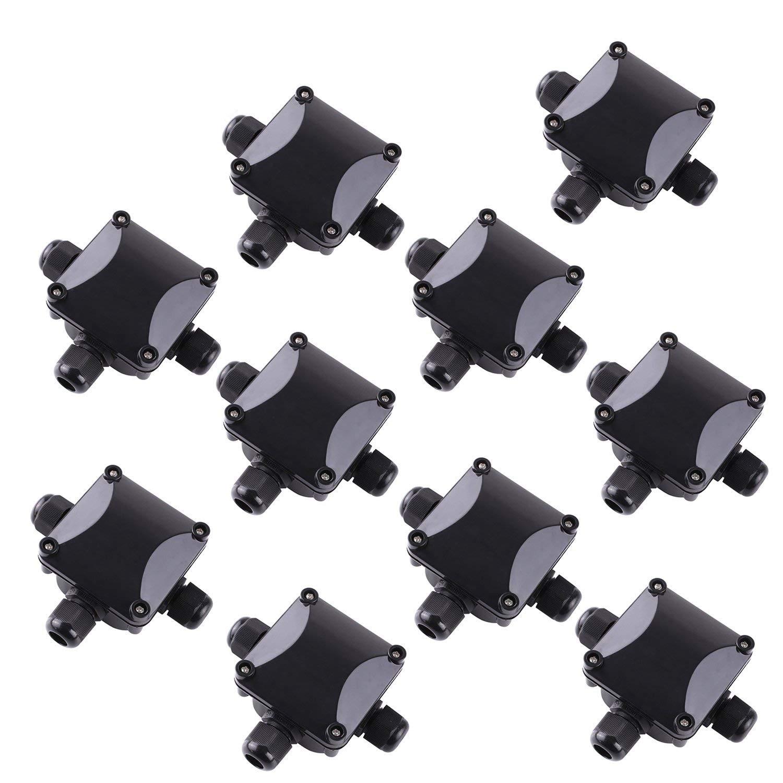BE-TOOL IP68 caja de conexiones el/éctrica caja de conexiones externa negro color negro Caja de conexiones impermeable conectores impermeables para iluminaci/ón exterior