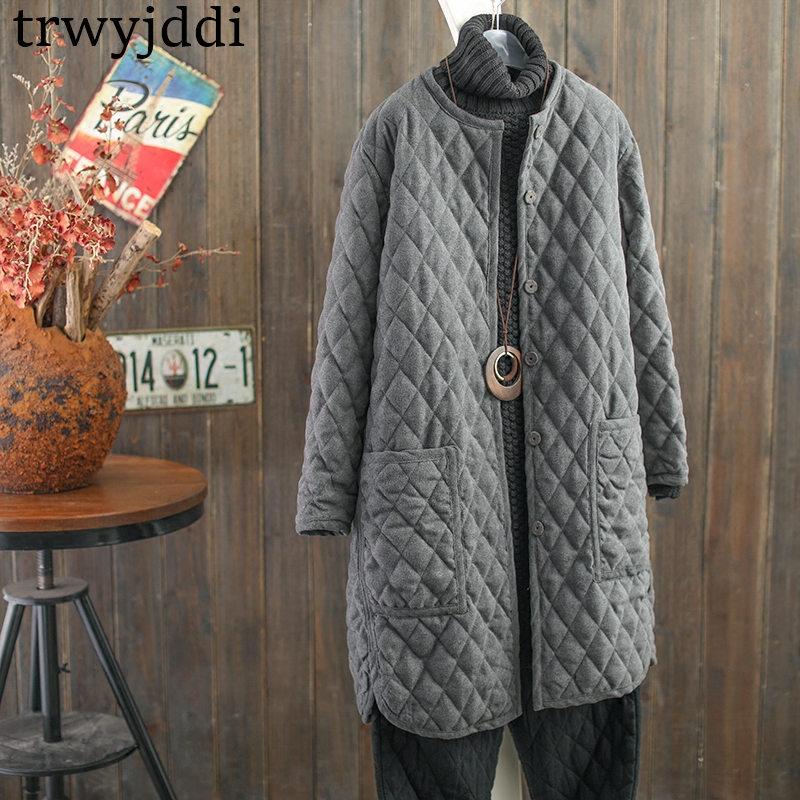 2019 Down Cotton Jacket Women Long Sleeve Winter Coat Casual Korean Single-breasted Female New Warm Long   Parkas   Outerwear A950