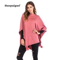 Pink Winter Cape Coat Women Long Sleeve Casual Outerwear Coat 2018 Autumn Batwing Knitting Cotton Cloak Overcoat with Diamonds