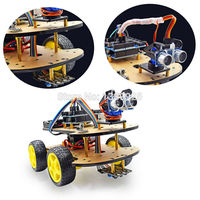 1 Set Multi Function 4WD Robot Car Kits Ultrasonic Module UNO R3 MEGA328P Robot Car Assembly