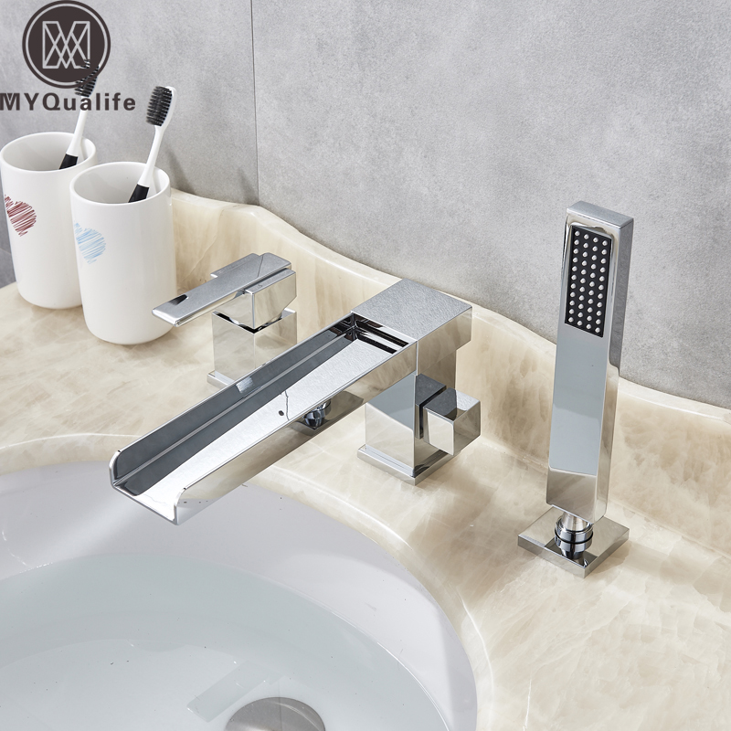 Widespread Bathroom Tub Sink Faucet Single Handle Bathtub Mixers with Handshower Brass Long Spout Waterfall Tub Mixer Faucet цена