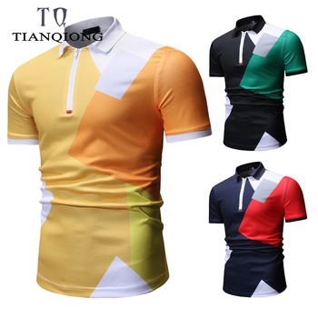 2019 nouvelles marques de mode Polo chemise hommes col Mandarin hommes été Polo chemise vêtements de rue à manches courtes coupe étroite hommes vêtements