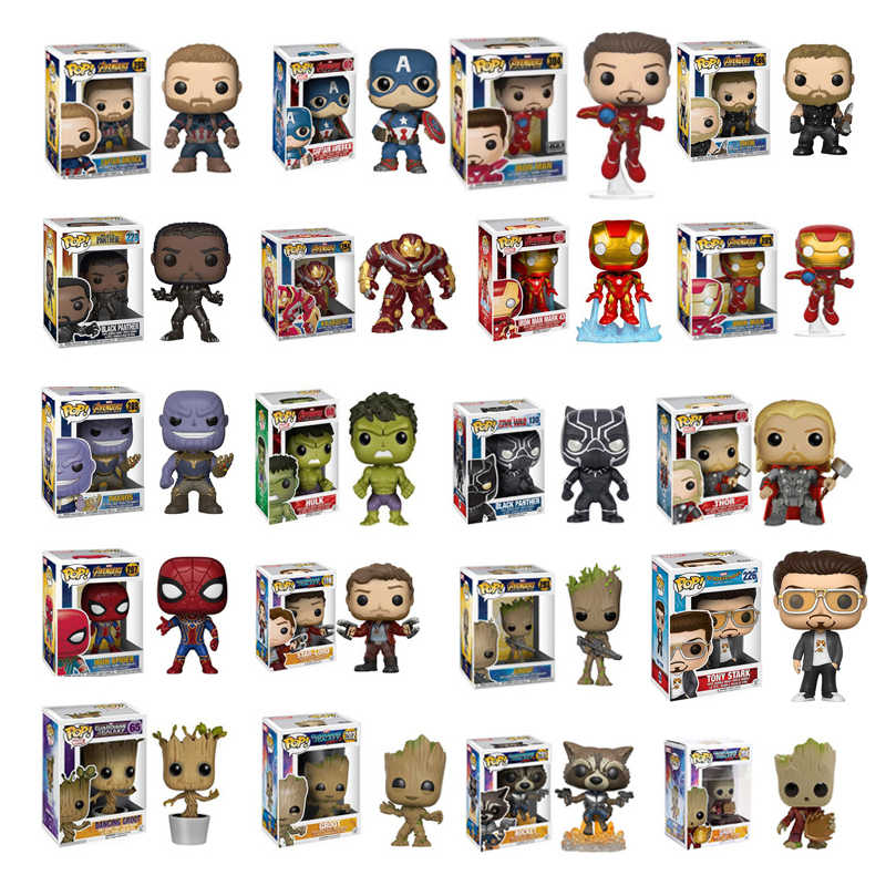FUNKO POP Marvel Avengers: endgame Hulk Tony Stark Iron Man Action PVC Figure Collection Giocattoli di Modello per I Bambini Regalo Di Natale