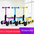 3 in 1 child scooter toy girl tricycle with adjust handle and seat PU light up wheel 3 wheels scooter