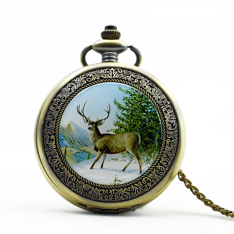 Antique&Vintage Men Mechanical Pocket Watches Deer Moose Skeleton Dial Fashion Gift With Pendant FOB Chain Men Women PJX1087