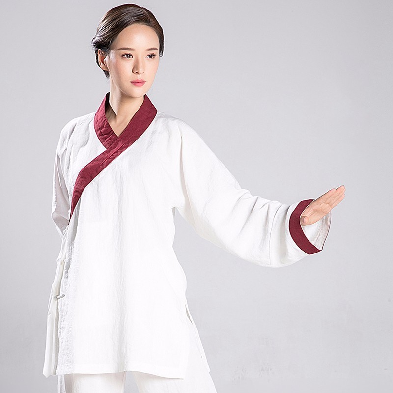 Tai Chi Uniform Woman Hanfu Line Martial Art Clothes Tai Chi Skirt Wushu Set Include Top And PantsTai Chi Uniform Woman Hanfu Line Martial Art Clothes Tai Chi Skirt Wushu Set Include Top And Pants