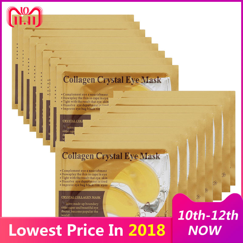 16pcs=8packs Gold Masks Crystal Collagen Eye Mask Eyelid Patches for the Eyes Anti-Wrinkle Remove Dark Circles Face Eye Care kongdy 4 bags lavender eye steam mask hot warming eye mask for tired eyes relaxing remove dark circles masks massage relaxation