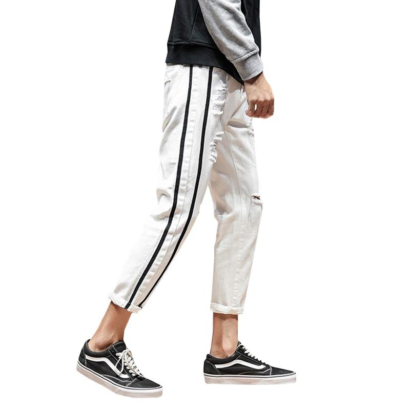2018 Jeans Men Black White Ripped Jeans For Men Stripe On Side Mens Denim Jeans Big Size Fashion Jean Pants Male Hip Hop
