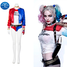 2016 New Chic Sexy Suicide Squad Harley Quinn Cosplay Costume Deluxe Outfit Halloween Costumes for Women