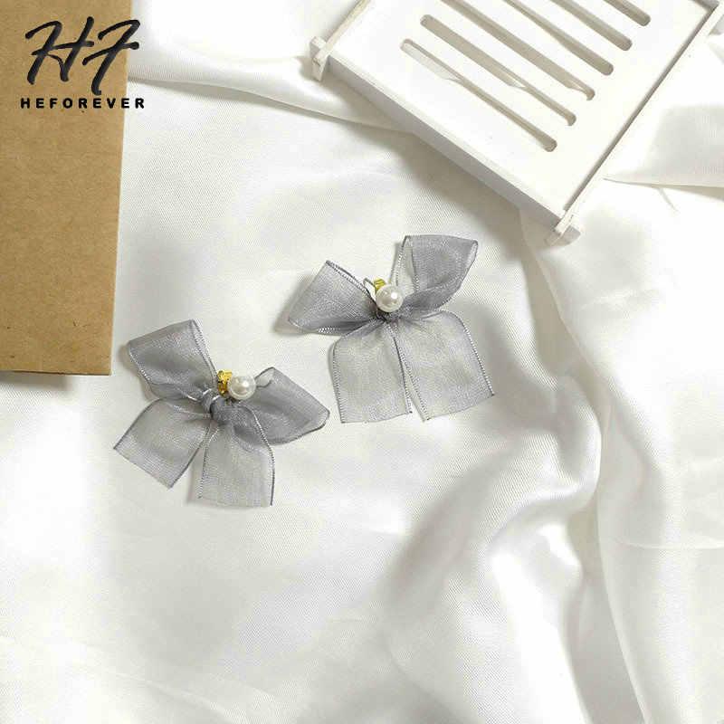 Pearl Stud Earrings For Women Earings Fashion Jewelry Gold-Color Sweety Gray Yarn Bowknot  Jewellry 2018 KA167 KA168