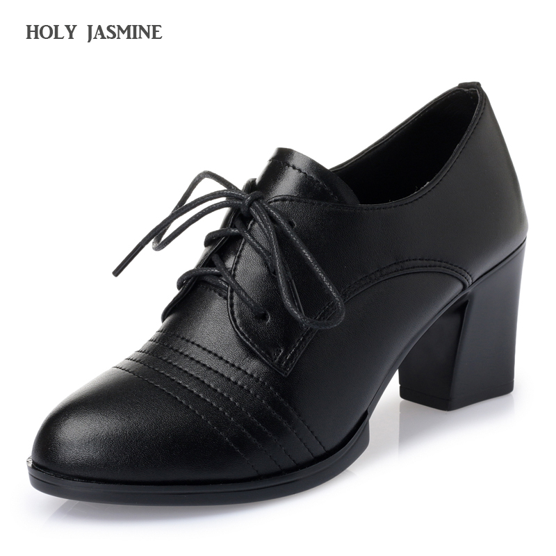 2018 New Concise Solid Lace Up pumps Women Shoes Spring Autumn Patent Round Toe Oxford Shoes Square Heel Black High heels Shoes xiaying smile woman pumps shoes women spring autumn wedges heels british style classics round toe lace up thick sole women shoes