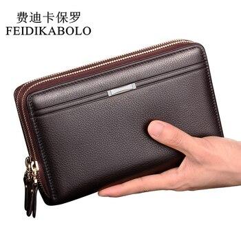 Мужской клатч с двойной молнией FEIDIKABOLO, кожаный бумажник из искусственной кожи, длинная мужская сумка, мужские кошельки, Carteira Masculina