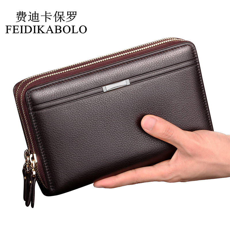 FEIDIKABOLO Double Zipper Men Clutch Bags PU Men's Leather Wallet Men Handy Bag Male Long Wallets Man Purses Carteira Masculina