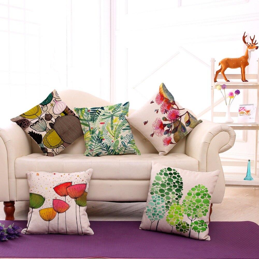 Decorative Pillow Cushion Case Abstract Flower Hummingbird Pillowcase 17.5 Inch Cotton Linen Chair Seat Throw Pillow Cover P1016