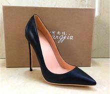 Sapatos de marca Mulher de Salto Alto Mulheres Sapatos Bombas Stilettos Sapatos Para As Mulheres sapatos de Salto Alto Preto 12 CENTÍMETROS PU de Couro de Casamento sapatos