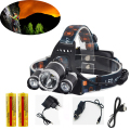 LED Headlamp 9000LM XML T6+2R5 Headlight Head Lamp Light Flashlight 4-mode Torch +2x18650 battery+Car USB AC Charger for fishing