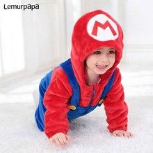 Mario Luigi kostüm erkek bebek kız Romper sevimli yumuşak Onesie kış sıcak tulum Brother Twins giysileri Anime komik kapüşonlu takım elbise