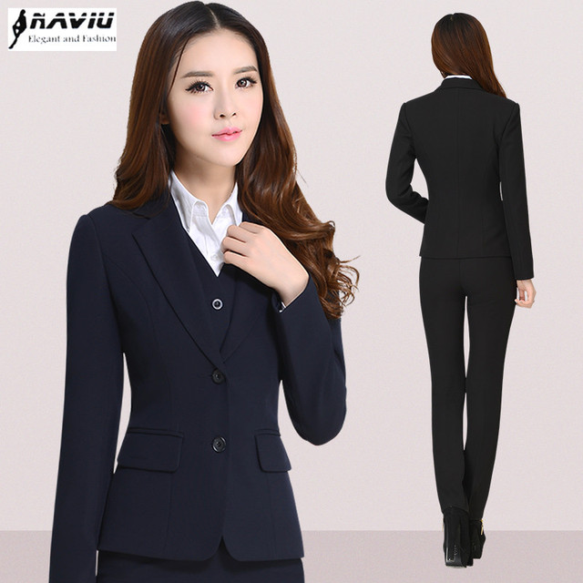 8489bc5d527a Fashion women professional work wear pants suit formal long sleeve blazer  and pant female office trouser suit winter clothing