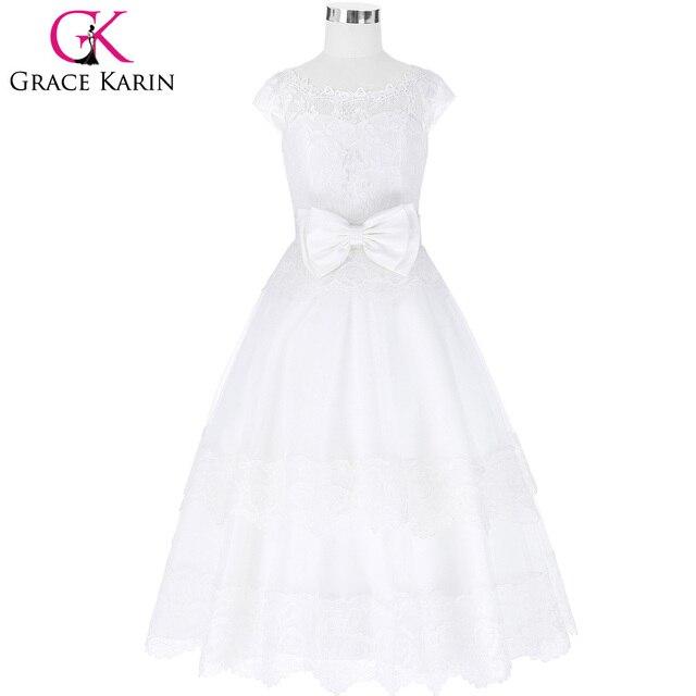 40c21c9eb9 Us 4536 Grace Karin Białe Koronki Kwiat Dziewczyna Sukienki Na Wesele Tulle  Księżniczka Strona Urodzin Dziewczynek