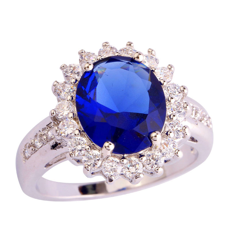 Factory Jewelry Blue Sapphire Quartz 18K White Gold Plated Silver Ring Size 6 7 8 9 10 Free Shipping Wholesale