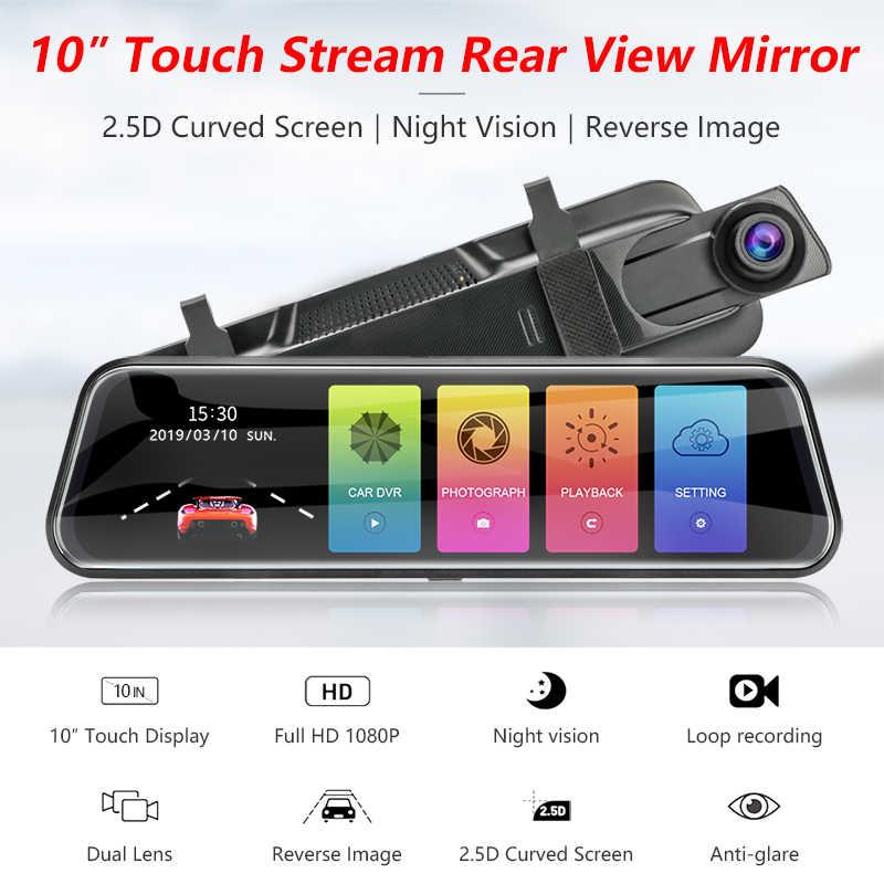 "Jansite 10 ""דאש מצלמת מגע מסך 1080P זרם מראה אחורית רכב מצלמות DVR מחזור הקלטת ראיית לילה Dual עדשת G-חיישן"
