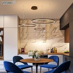 Image 5 - Suspension suspendue circulaire avec anneaux lumineux, design moderne pendentif LED, lumière à intensité réglable, Luminaire dintérieur, idéal pour un salon, une salle à manger, un café
