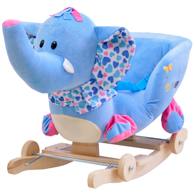 Kingtoy Plush Elephant Baby Rocking Chair Children Wood Swing Seat Kids  Outdoor Ride On Rocking Stroller