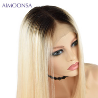 1B/613 Blonde Color Brazilian Remy Human Hair 13*4 Front Lace Wigs For Women Density 150% Straight Hair Lace Wig With Baby Hair