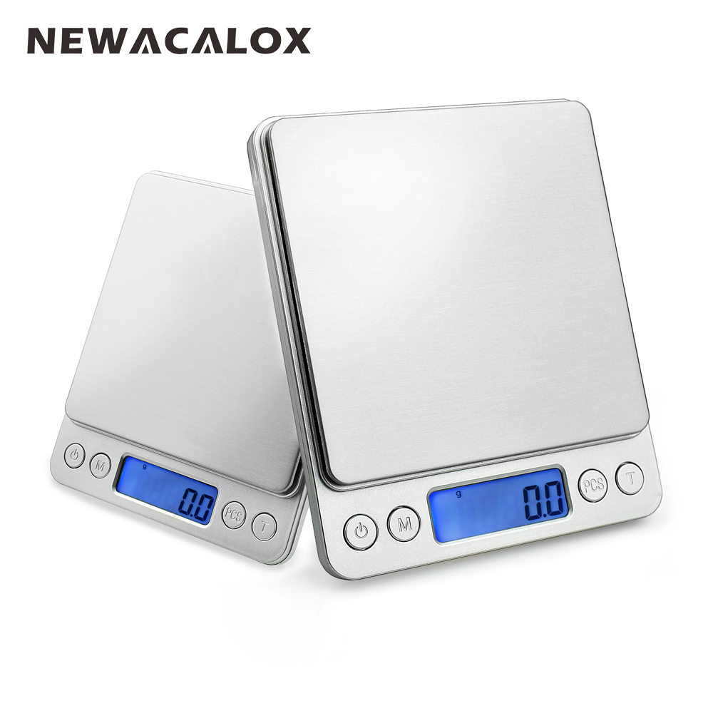 NEWACALOX 2000g x 0.1g Digital Pocket Scale 2kg-0.1 2000g/0.1 Jewelry Scales Electronic Kitchen Weight Scale 1 8 lcd portable jewelry digital pocket scale 500g 0 1g 2 x aaa