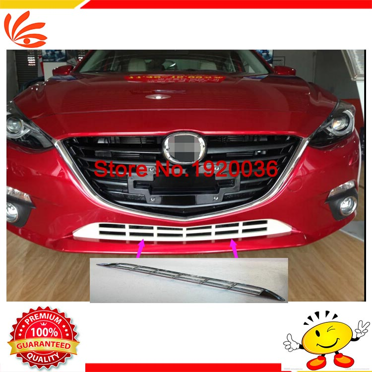 Car styling ABS Chrome Car Front Grill Trim Auto Grille Decoration Cover Trims for MAZDA 3 AXELA 2014 car accessories for hyundai ix35 2010 2011 2012 abs chrome front lower grille around center grill grilles cover racing grills styling trims 1pcs