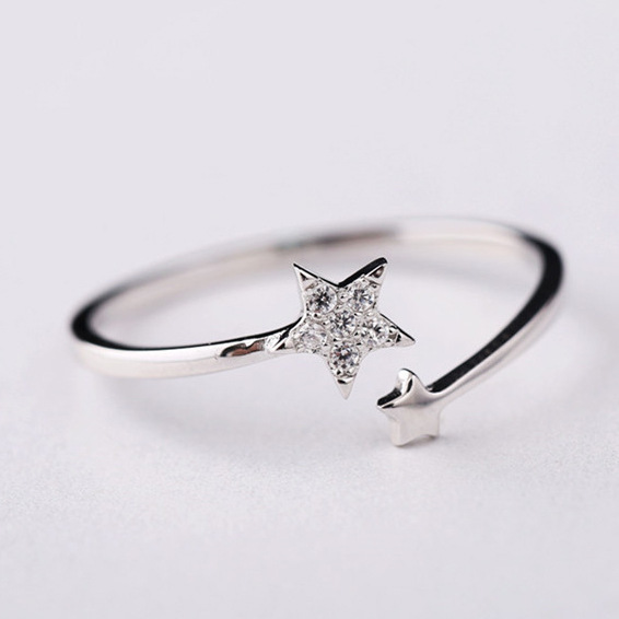 Flyleaf 925 Sterling Silver Zircon Double Star Open Rings For Women Lady Fashion