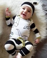 2016 Autumn Winter Baby Clothes 3pcs Set Kid Baby Boys Girls Cotton Tops Pants Hat Outfits