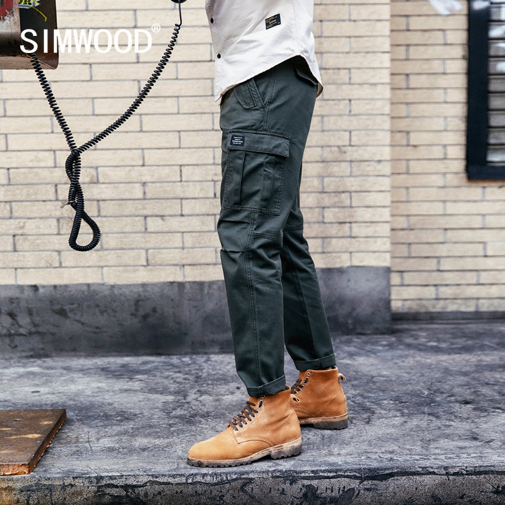 SIMWOOD New 2019 Casual Pants Men Fashion Track Cargo Pants Ankle-Length Military Autumn Trousers Men Pantalon Hombre 180614