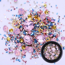 1 Box Flat Back DNail Rhinestones Mix Sized Nail Studs Colorful 3D Nail Decoration AB Color Art in Box Nail Art Decoration цены