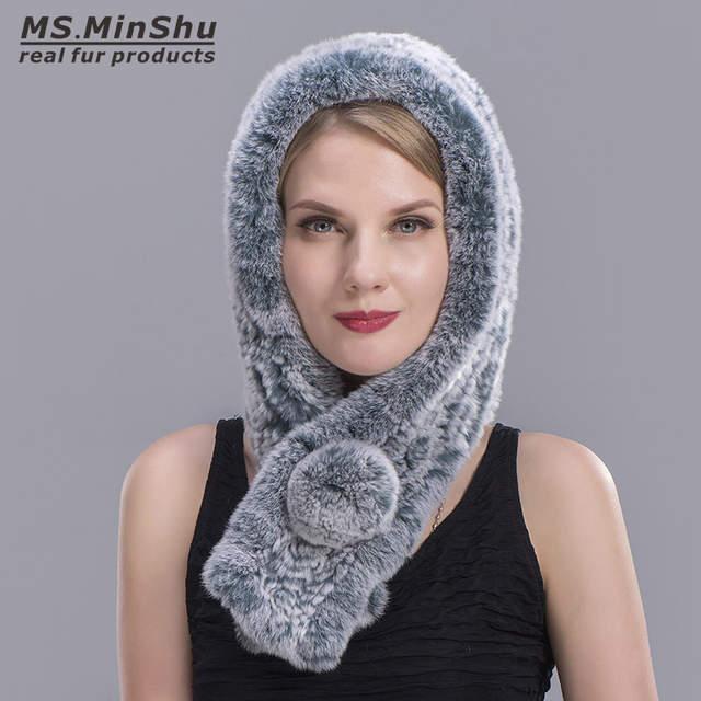1e85845f6bd04 Knitted Rex Rabbit Fur Real Rex Rabbit Fur Hooded Scarf Fashion Women Scarf  Winter Hat Pompom Scarf Cap Female MS.MinShu-in Women's Scarves from  Apparel ...