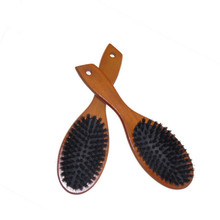 Wooden Massage Comb Natural Wild Boar Bristles Anti static Hair Scalp Paddle Brush Beech Wooden Handle Hair Brush Styling Tool