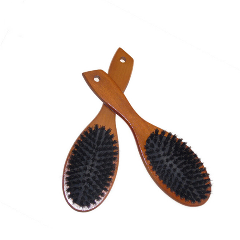 Wooden Massage Comb Natural Wild Boar Bristles Anti-static Hair Scalp Paddle Brush Beech Wooden Handle Hair Brush Styling Tool