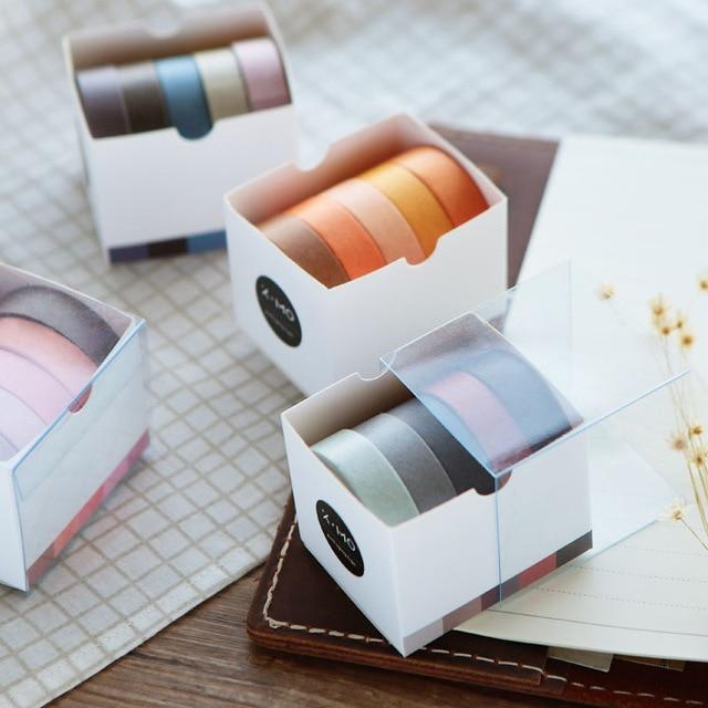 5 Pcs/lot 5M simple Decorative Paper Green Pink Purple Washi Tape Set Japanese Stationery Kawaii Scrapbooking Supplies Stickers Office Adhesive Tape