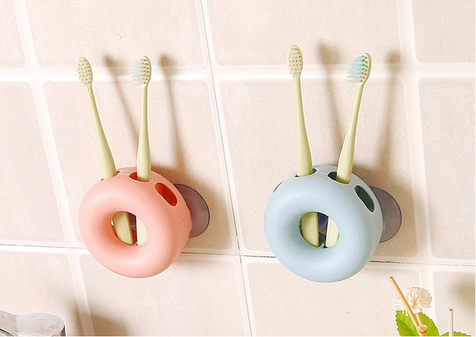 1PC Novelty Bathroom Set Sanitary Kids Wall Mounted Toothbrush Holder Cartoon Animal Brush Holder With Suction Cup Shelf OK 0532 image