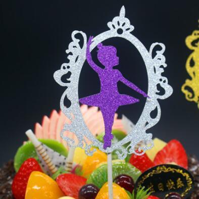 1pc Magic Mirror Ballet Angel Birthday Cake Flag Creative Topper Flags For Wedding Birthday Party Cake Baking Decoration