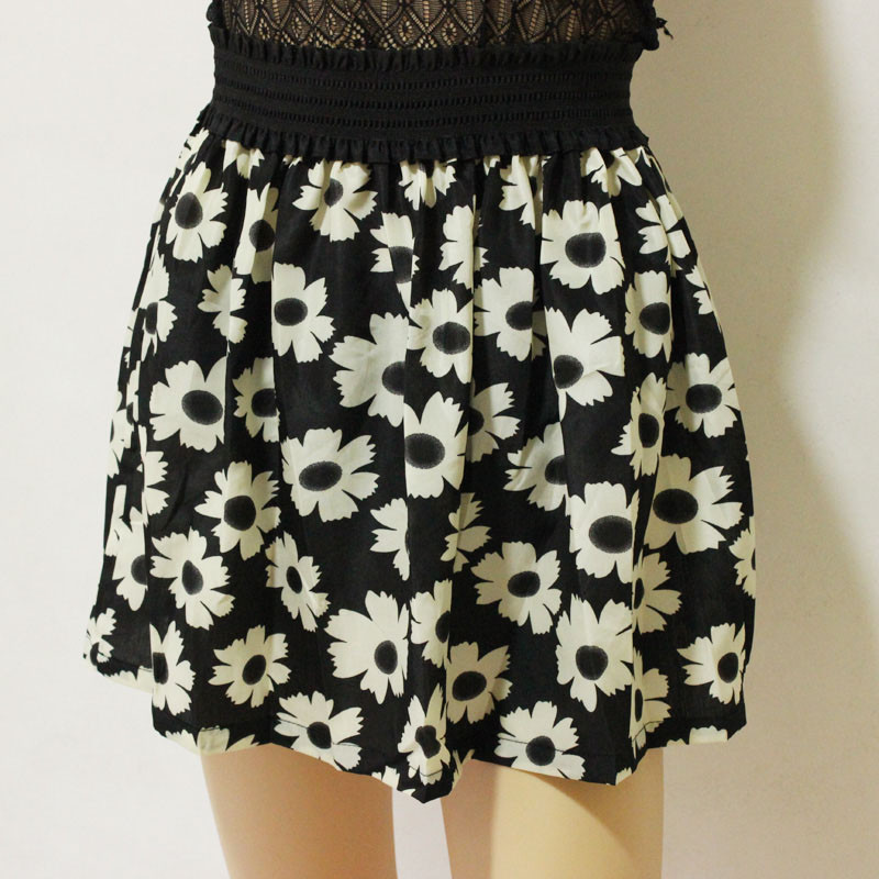 Fashion Pleated Retro High Waist Summer floral plaid Short Mini Skirts 19