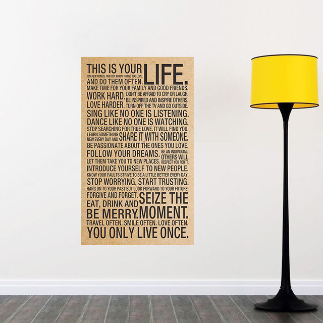 This Is Your Life Sayings Motto Quote Silk Poster 60x60inch Art Wall Custom This Is Your Life Quote Poster