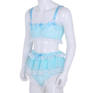 Image 3 - Męskie Sissy komplet bielizny koronki z falbankami czysty szyfon crop top bez rękawów z spódnicą Petticoated bielizna nocna seksowne majtki dla mężczyzn