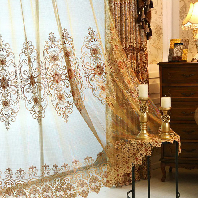 Helen Curtain Luxury Gold Embroidered Curtains For Living Room European Style Valance Window Treatment Decorative L 37