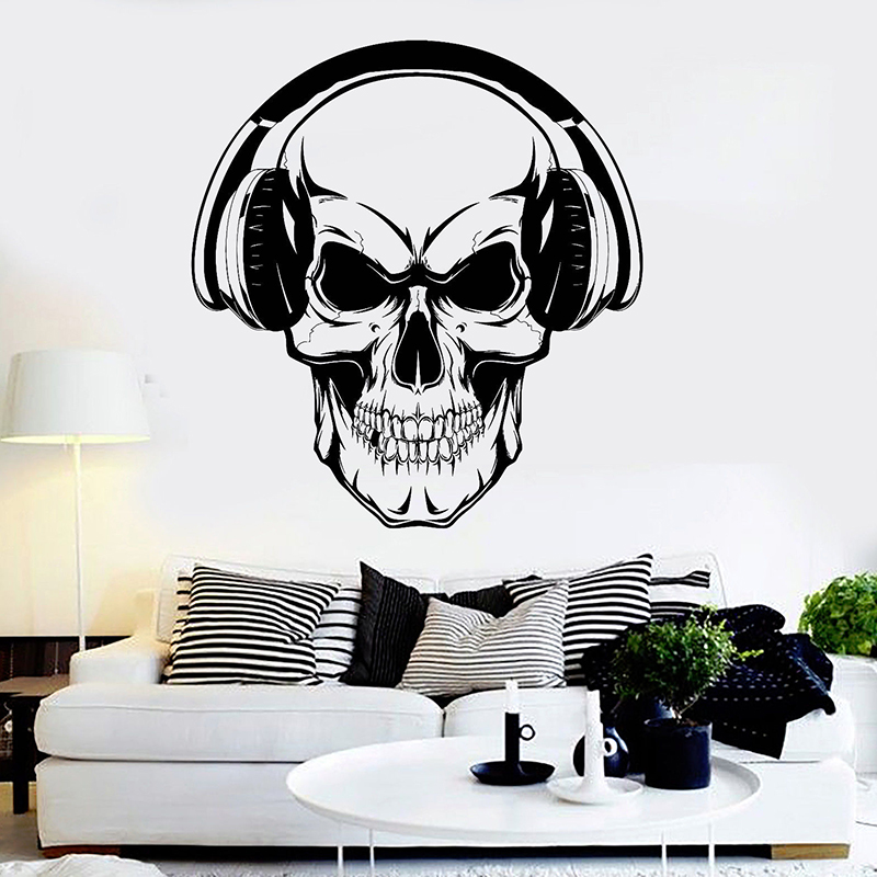 Skull Headphones Wall Stikcer Music Stickers For Teen Room Musical Art Mural Home Decoration Wallpaper Removable Wall Decor H065