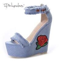 Pink Palms Women Summer New Denim Platform Shoes Folk Flower Embroidered Fabric High Heels Sandals