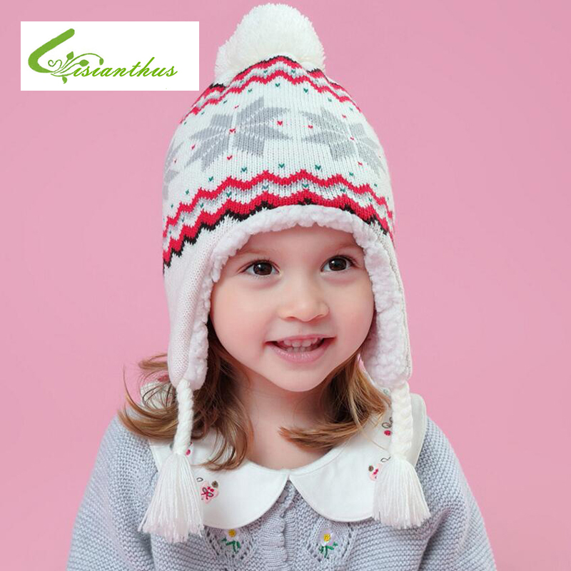 Thick Warm Baby Hat Knitted Snowflake Pattern Baby Ear Flap Hats For