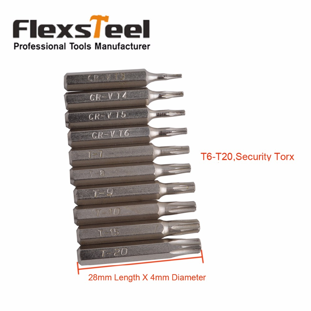 Flexsteel 10pcs CR-V Torx Bit Set Including T3,T4,T5,T6,T7,T8,T9,T10,T15,T20(T6-T20 Security torx) tinhofire t3 t4 t5 t6 t7 t8 t9 t10 t11 t12 cree t6 led 4000 20000 lm led torch camping flashlight lamp with battery and charger