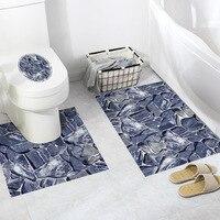 3pcs natural stone pattern bathroom anti skid waterproof decorative wall PVC environmental self adhesive toilet floor sticker