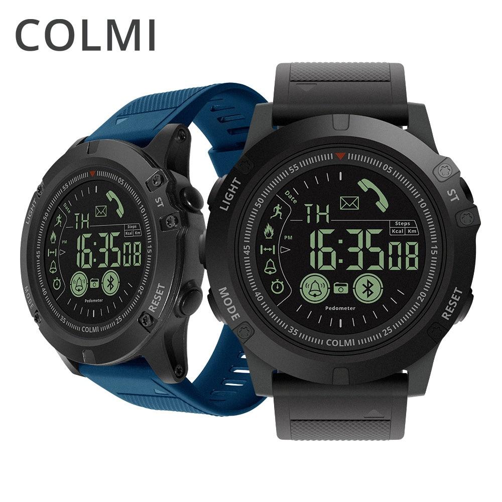 COLMI hombres Smart Watch 5ATM impermeable Pedometer caloría llamar mensaje Reminder cámara remota Sport Smartwatch para Android iOS